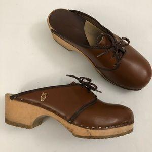 VTG Sz 37 UGGLEBO Brown Leather Swedish Clogs